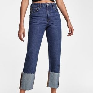 NWT Zara The Folded Up Straight Relaxed Jeans